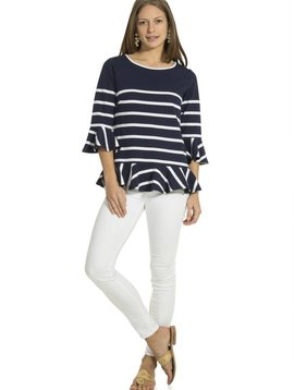 SAIL TO SABLE PONTE STRIPE RUFFLE LONG SLEEVE TOP