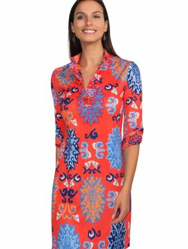 GRETCHEN SCOTT JERSEY MANDARIN DRESS TURKISH DELIGHT