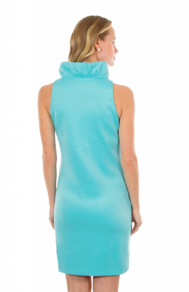 Jersey Ruffneck Sleeveless Dress - Solid