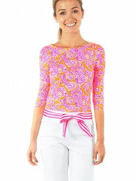 GRETCHEN SCOTT COMFY COTTON BOATNECK TEE -  PLENTIFUL PAISLEY