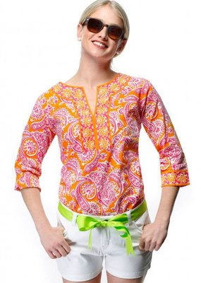 SPLIT NECK TUNIC - PLENTIFUL PAISLEY