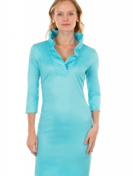 GRETCHEN SCOTT JERSEY RUFFLENECK DRESS - SOLID