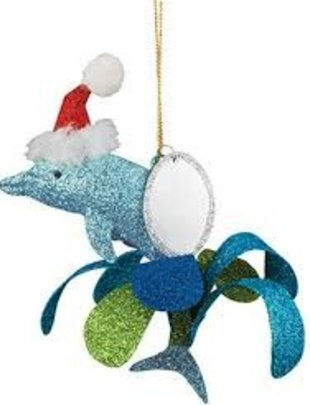 cape shore Ornament - Glitter Metal Dolphin