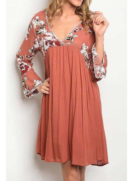 Floral Bodice Contrast Loose Dress