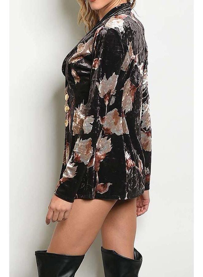 Floral Print Velvet Jacket with Mini Shorts Set