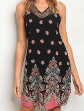 Lace Trimmed V-Neck Floral Dress