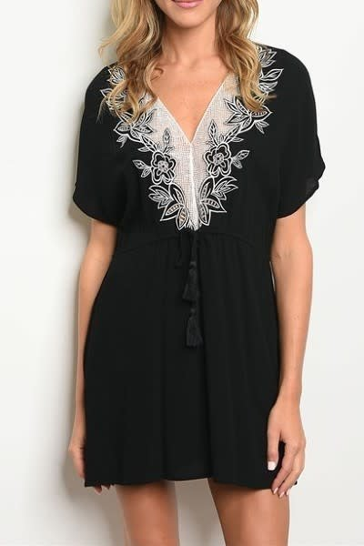 Short Sleeve V-Neck Mini Dress