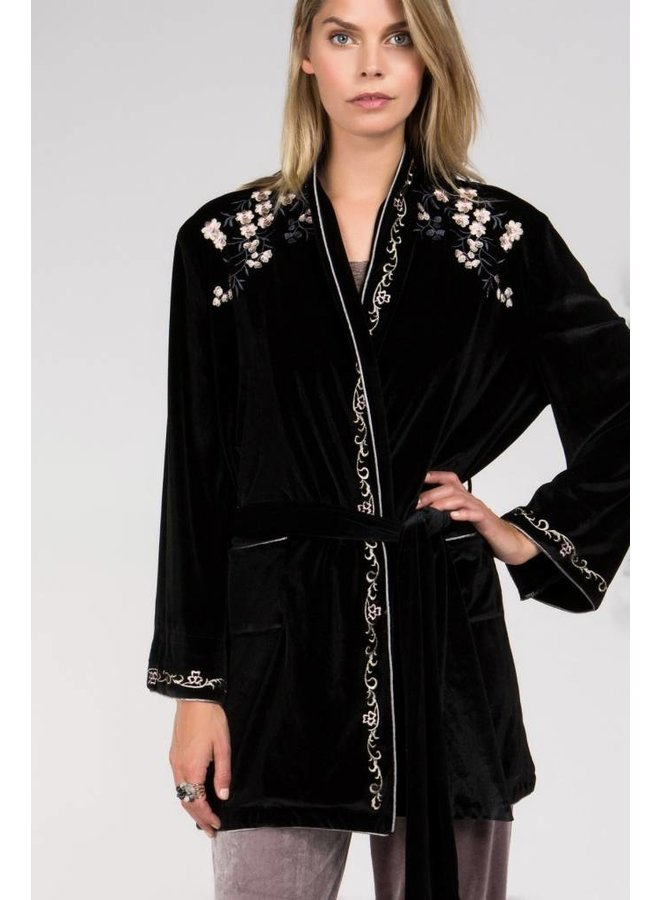 Floral Embroidered Velvet Robe