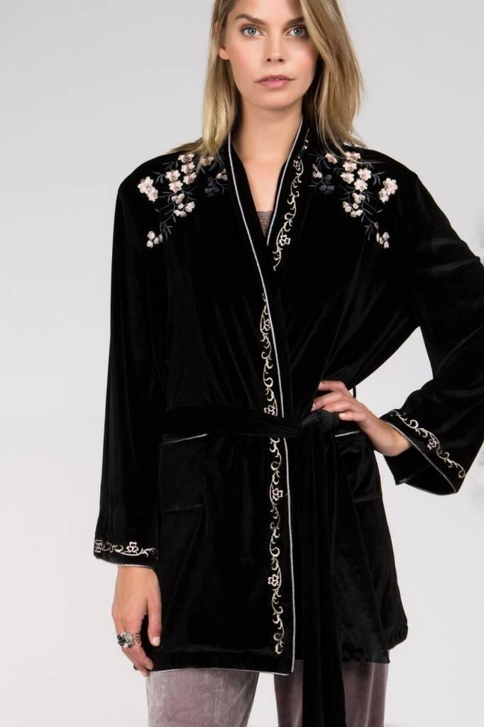 Floral Embroidered Velvet Robe