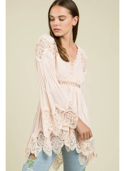 Bell Sleeve Crochet Tunic Top