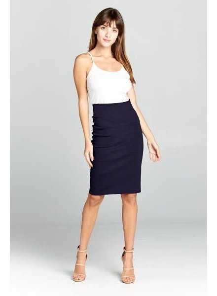 Navy High Waist Pencil Skirt