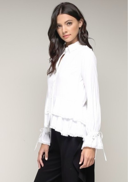 Button Down Peplum Blouse