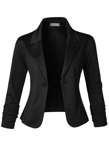 Slim Fit Ruched Blazer - Black