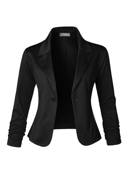 Slim Fit Ruched Blazer - Black