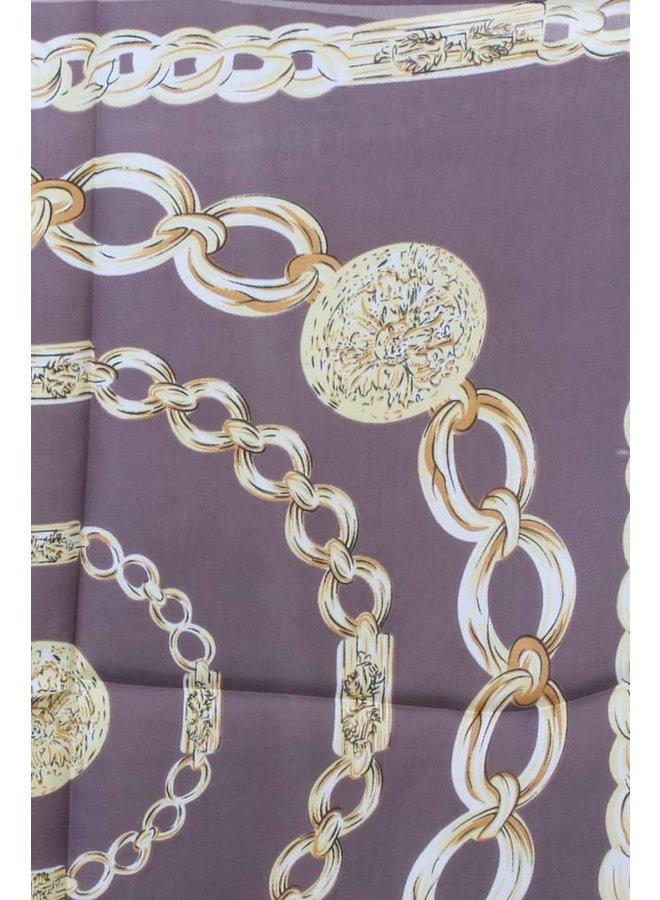 Chain Print Silk Scarf -2