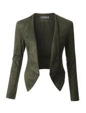 Lightweight Faux Suede Open Front Cropped Blazer