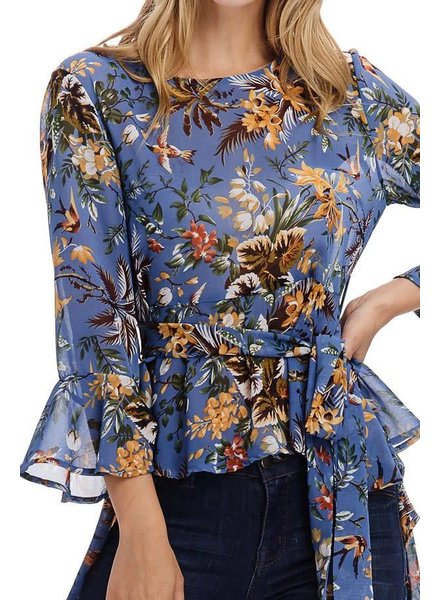 Blue Sheer High-Low Floral Blouse