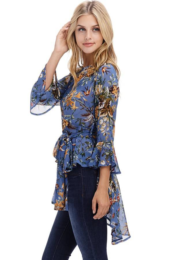 05f0e84ee shabby cottage boho boutique blue sheer high low floral blouse .