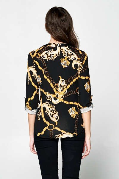 Cupro Chain Printed Blouse