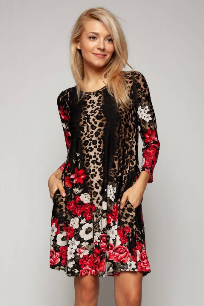 Flower and Animal Print Dress