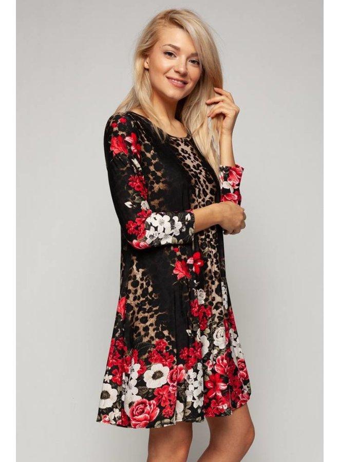 Flower and Animal Print Dress