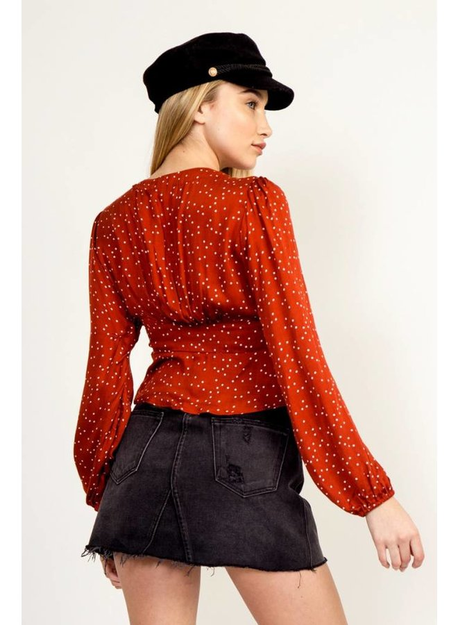 Rusty Red Polka Dot Blouse