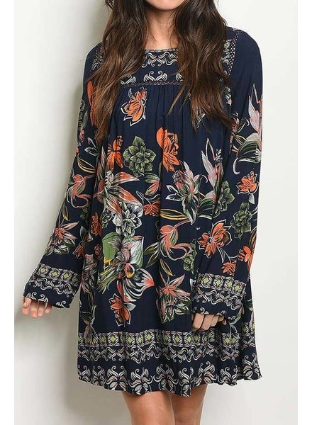 Navy Boat Neck Printed Loose Dress