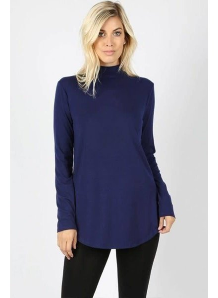 Navy Long Sleeve Mock Neck Top