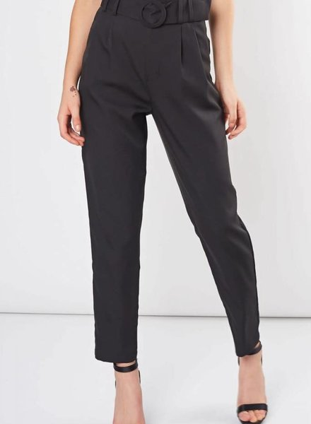 Black Semi-formal Pants with Belt