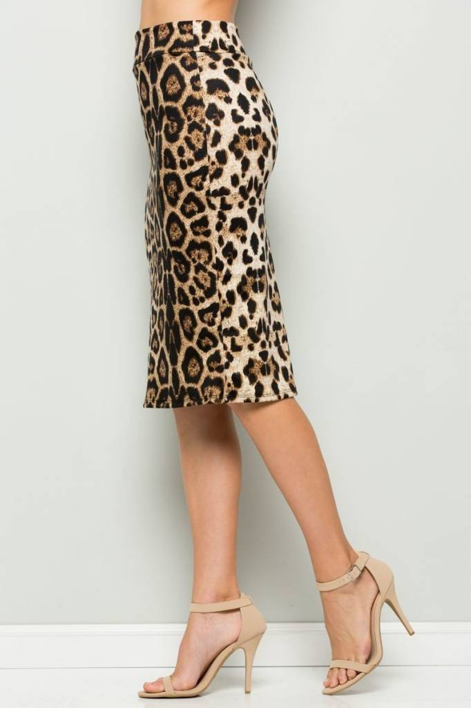 Animal Print High Waist Pencil Skirt