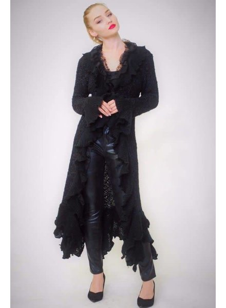 Black Ruffle Trim Duster