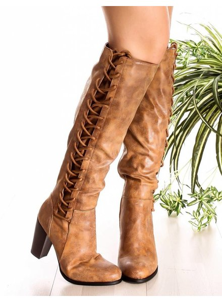 Chestnut Faux Leather Knee High Boot