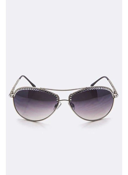 Crystal Aviator Sunglasses
