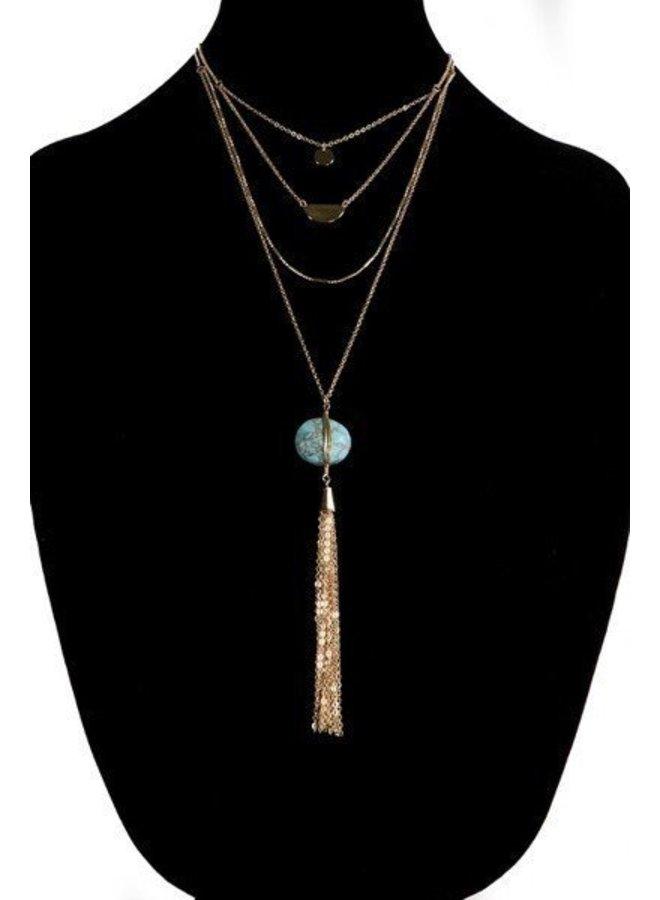 Multi Strand Tassel Necklace