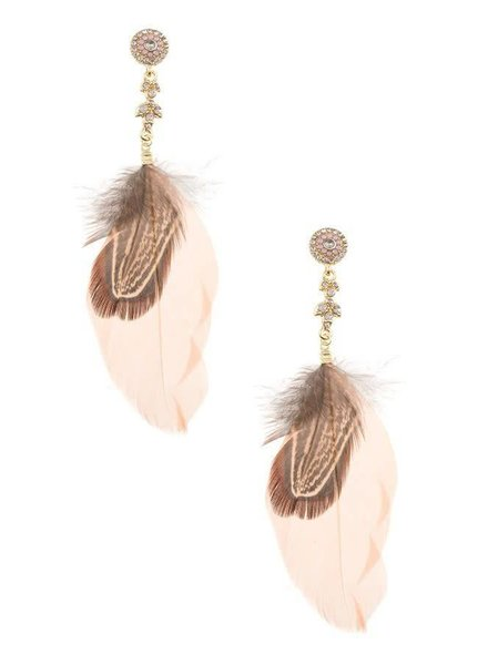 Peach Feather Earrings