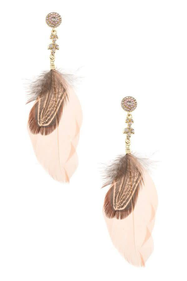 Peach Feather Earrings