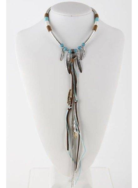 Tied Yarn Drop Collar Necklace