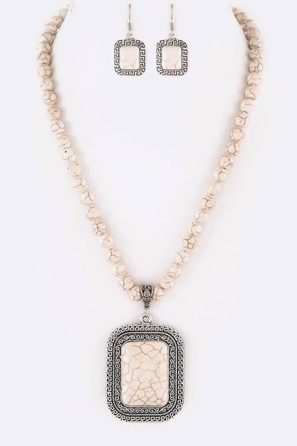 White Stone Pendant Necklace Set