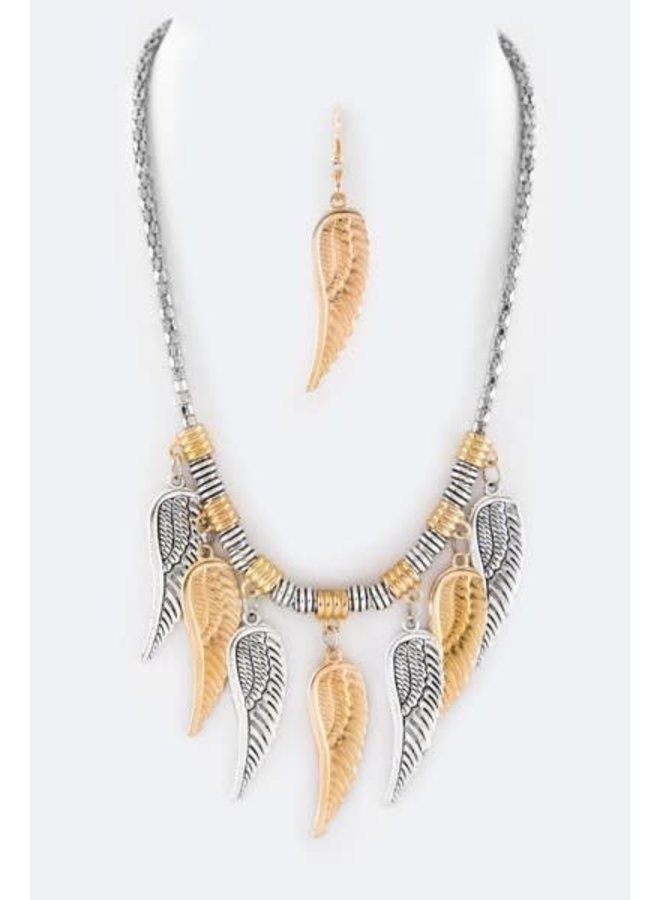 Gold & Silver Metal Feather Necklace Set