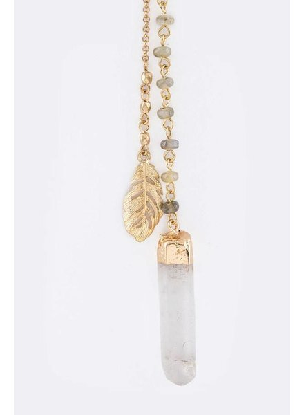 Feather & Quartz Drop Necklace