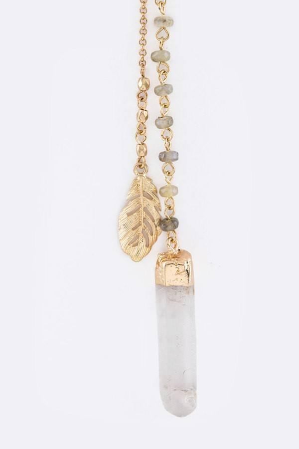 Feather & Quartz Drop Necklace