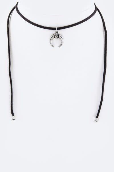 Crystal & Metal Horn Drawstring Choker