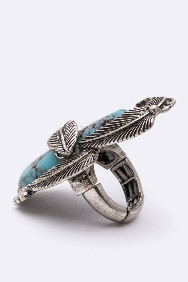Squash Blossom Turquoise Ring
