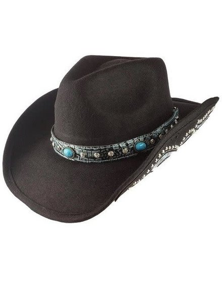 e7a7967ed56 Black Turquoise Detailed Wool Cowboy Hat