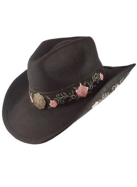 Black Flower Embroidered Wool Cowboy Hat