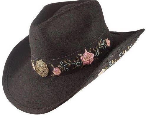 Black Flower Embroidered Wool Cowboy Hat