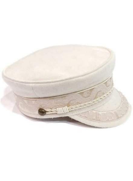 Cream Jacquard Trim Wool Conductor Hat