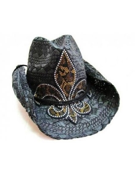 Black Leopard Bling Cowboy Hat