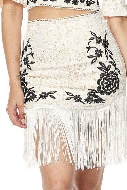 Embroidered Tassel Skirt