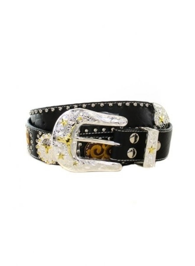 Western Cowgirl Leather Rhinestone Belt